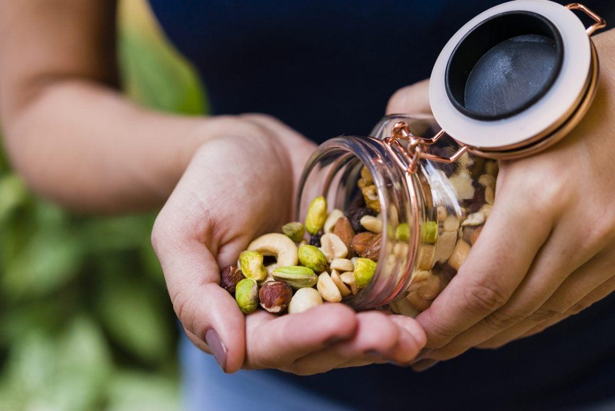 woman nuts fiber diet
