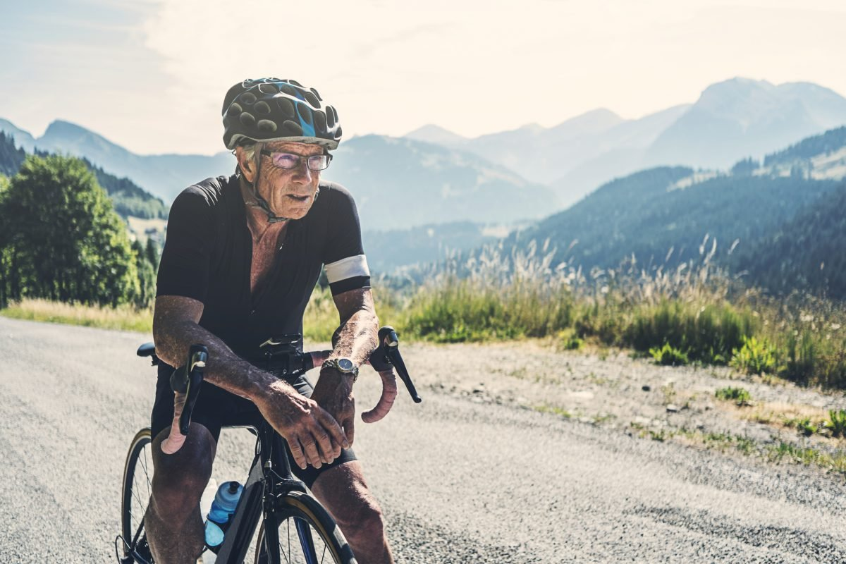 older man resting cycling