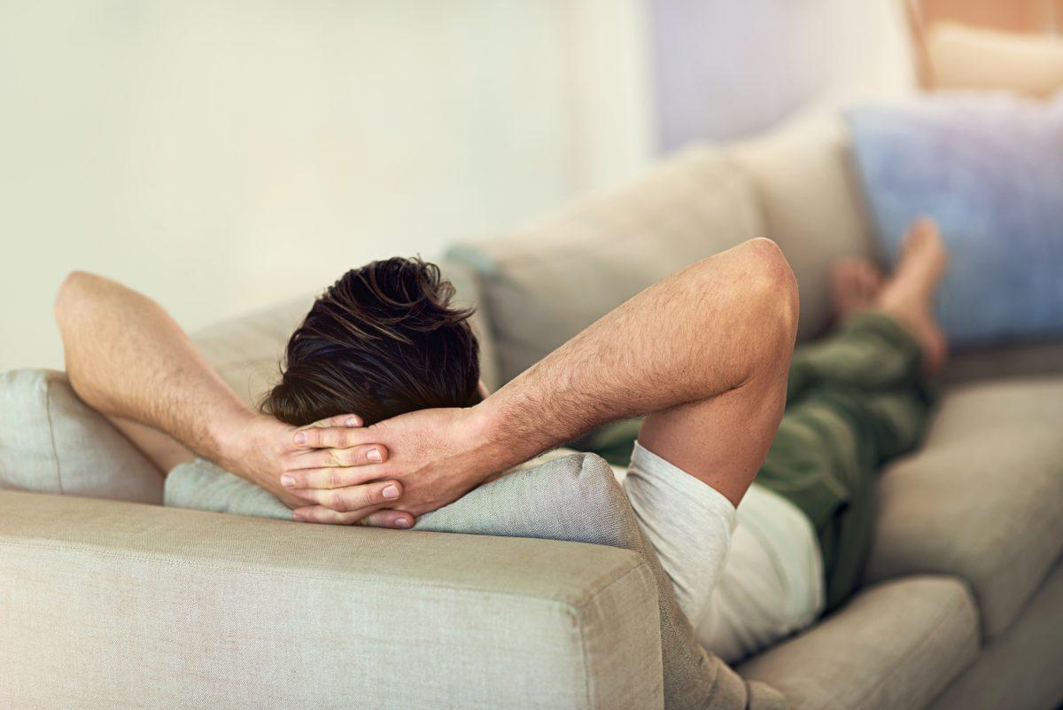 man relaxing resting back