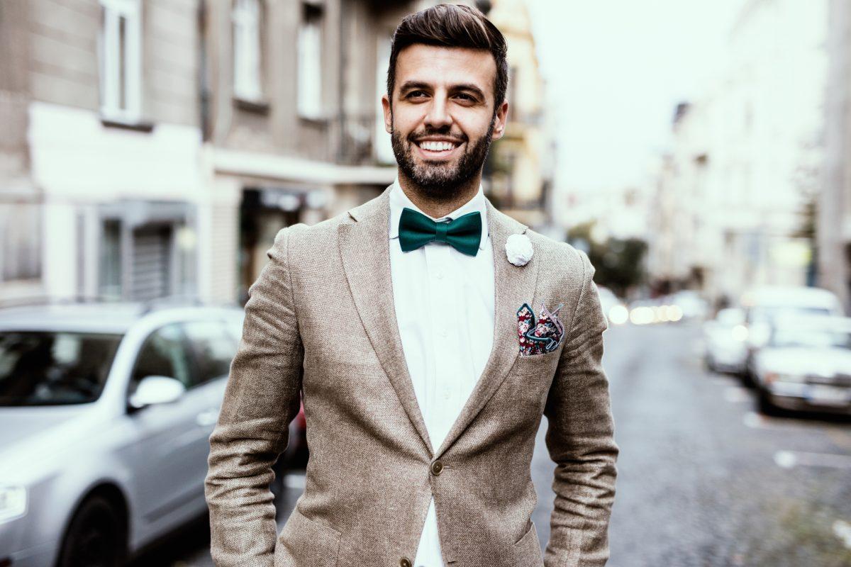 man silk shirt suit