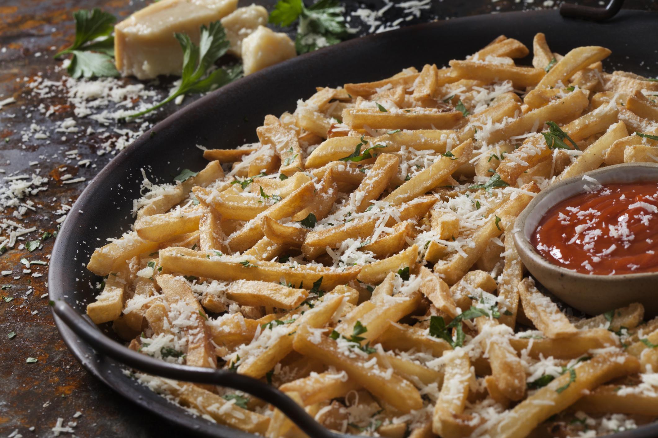 Crispy, Parmesan Garlic Fries with Fresh Parsley and Ketchup