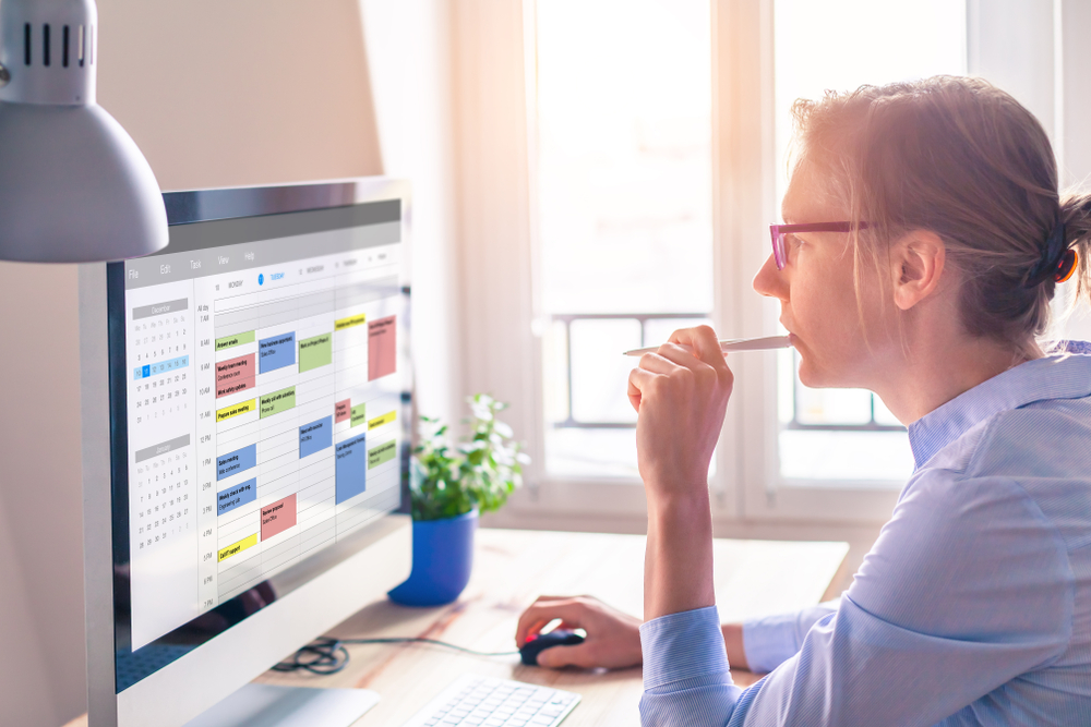 woman looking at productivity calendar on computer