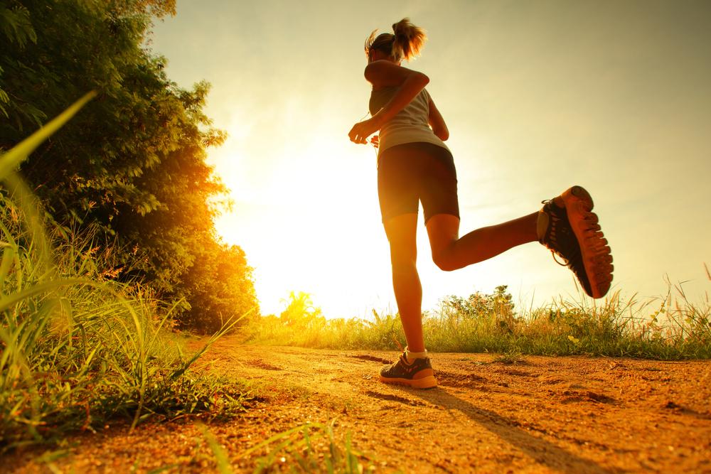 woman running evening workout