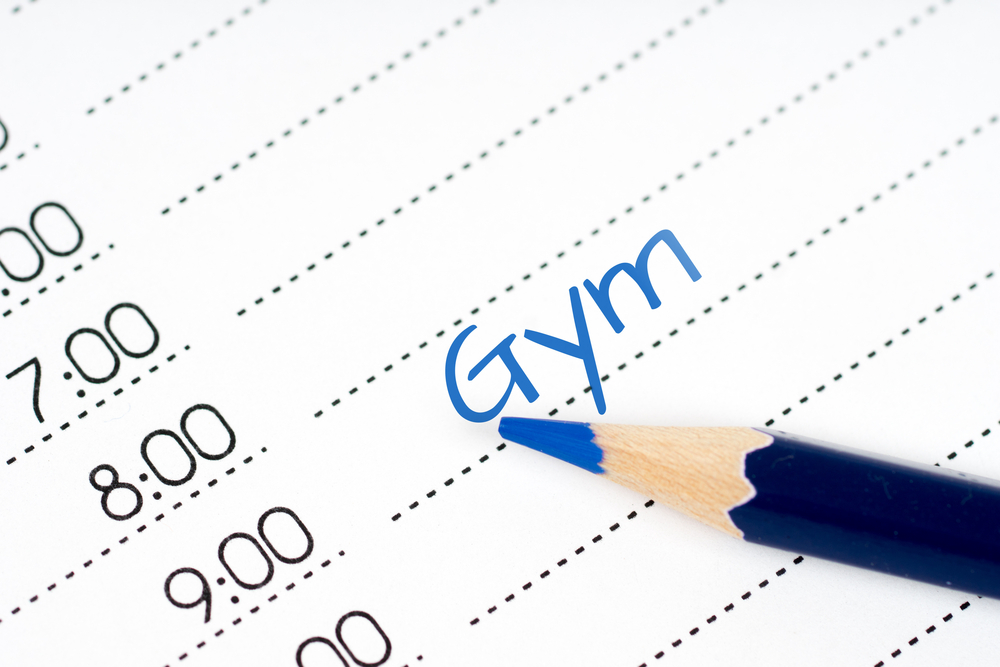 dayplanner with gym on morning schedule