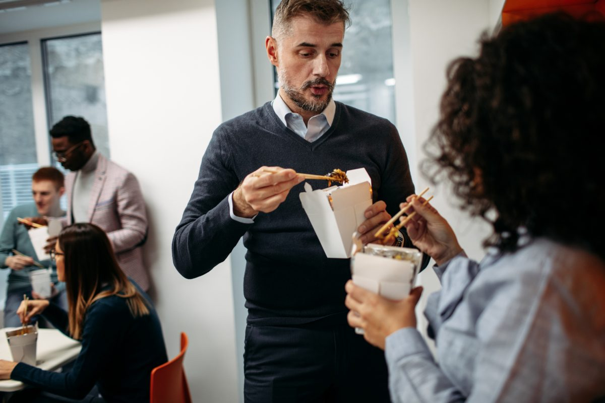office eating standing