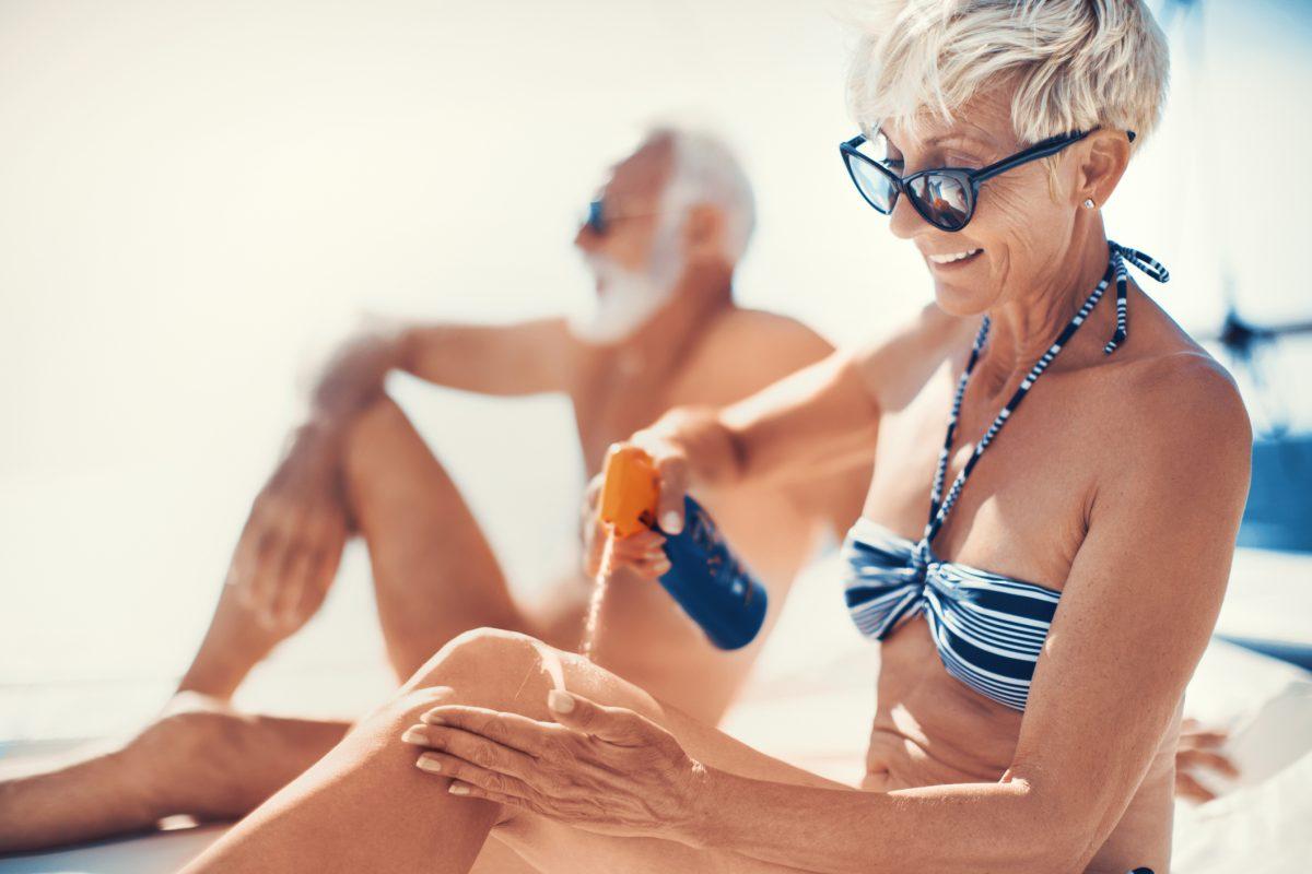 Senior woman in bikini.