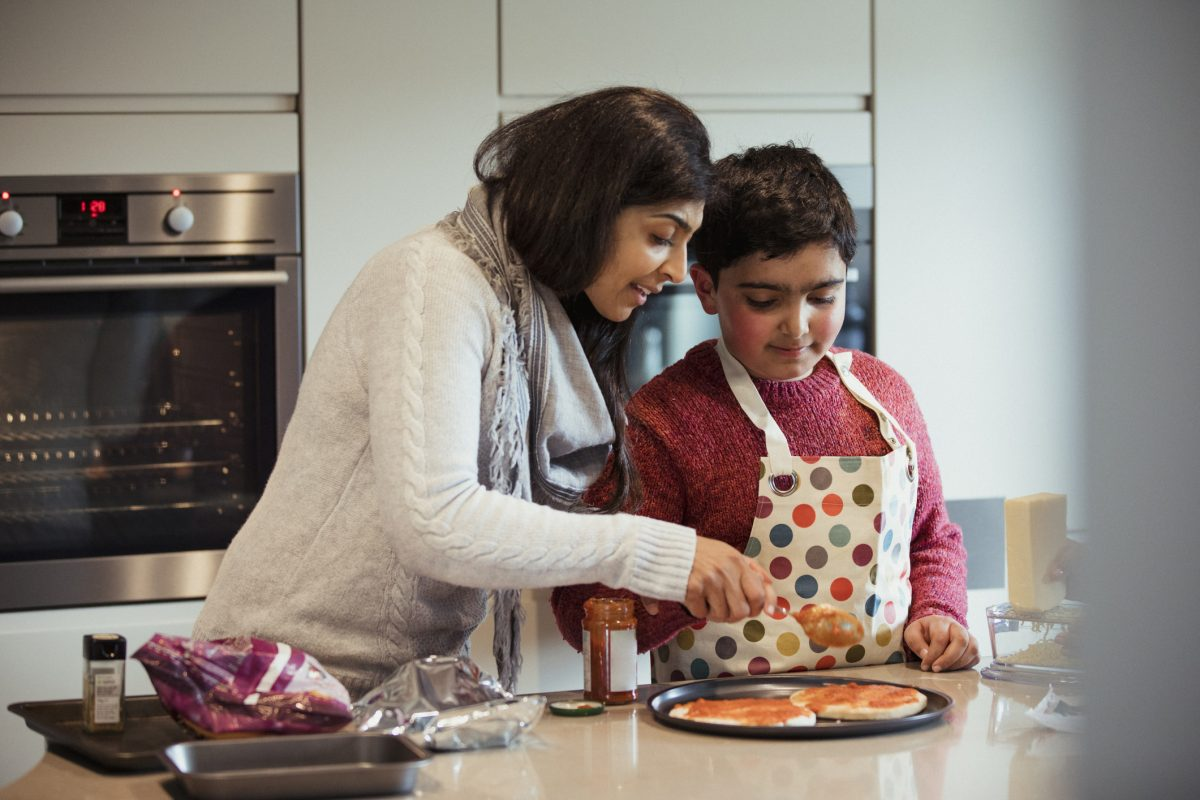 mother son autism cooking
