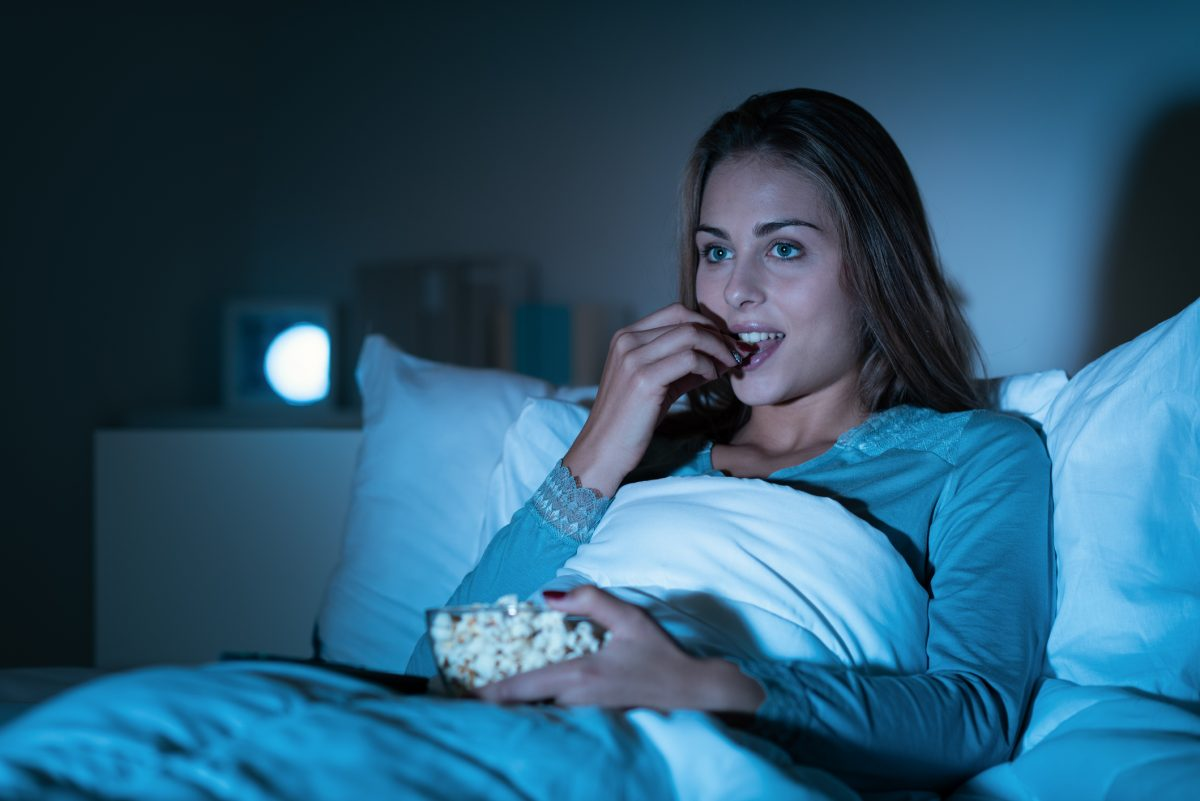 woman eating bed night