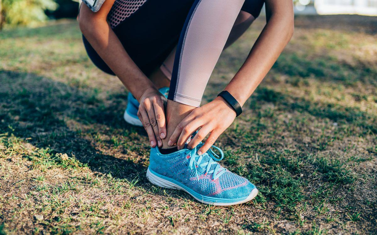 closeup sweaty leg sock