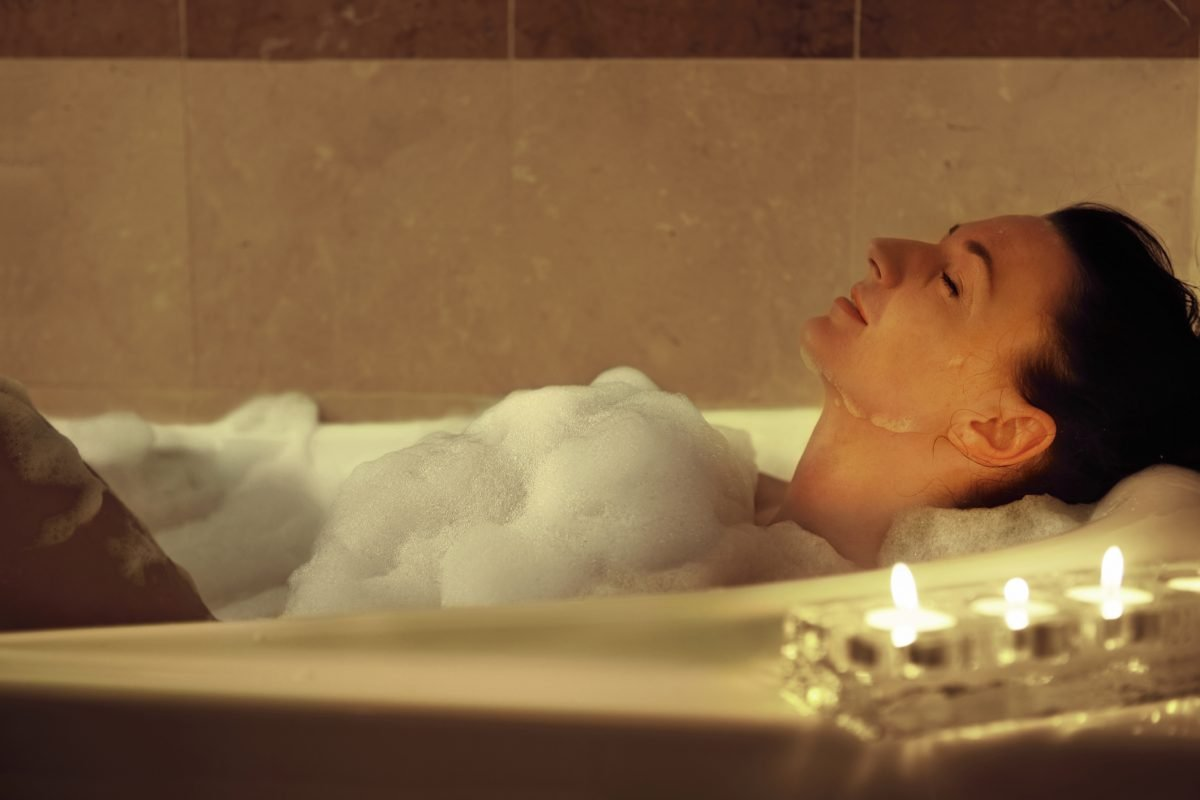 bath promotes sleep woman
