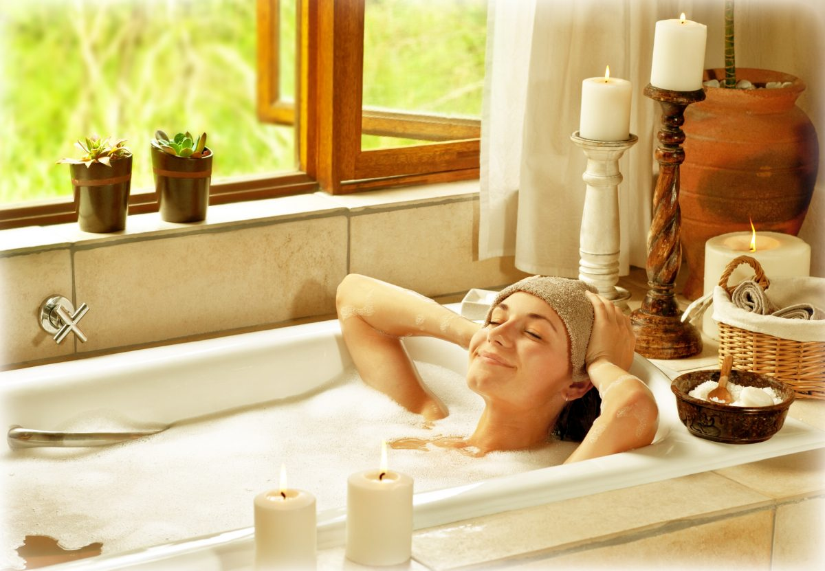 epsom salts bath comforting woman
