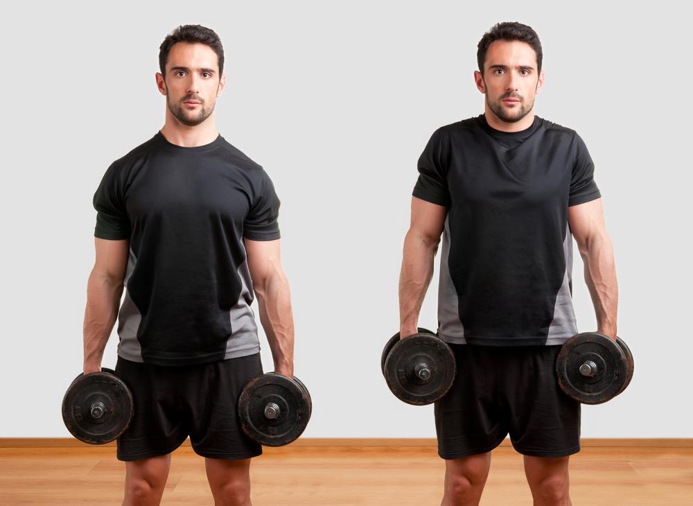 man illustrates how to do shoulder shrug exercise with dumbbells