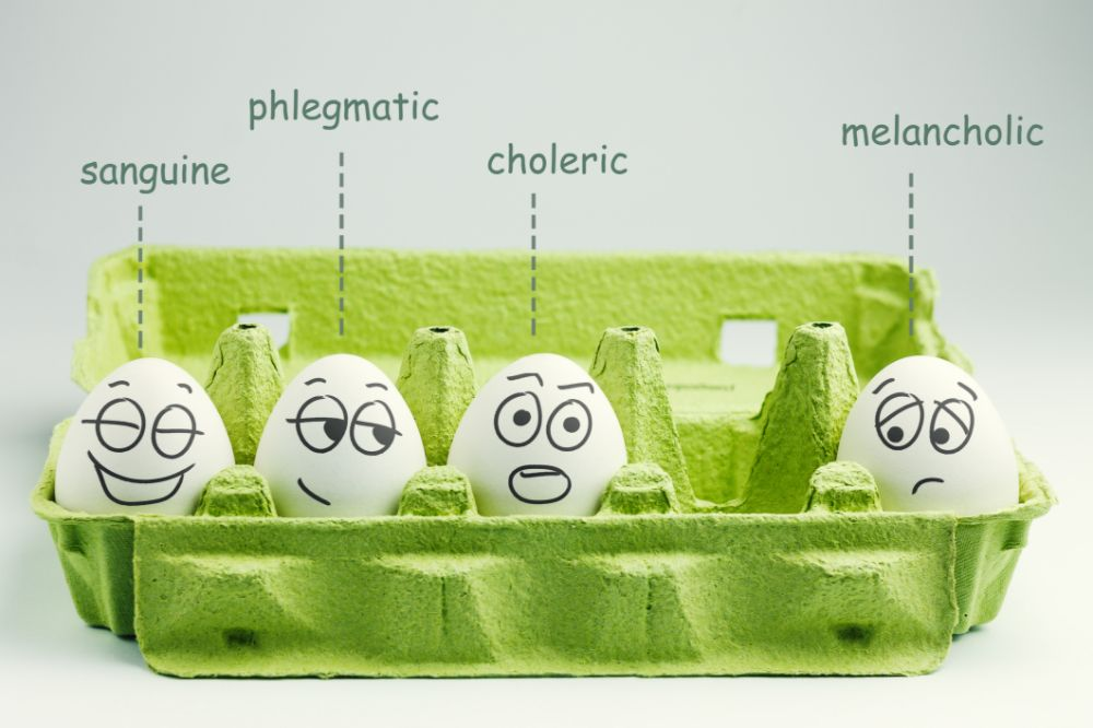 four humors concept with eggs