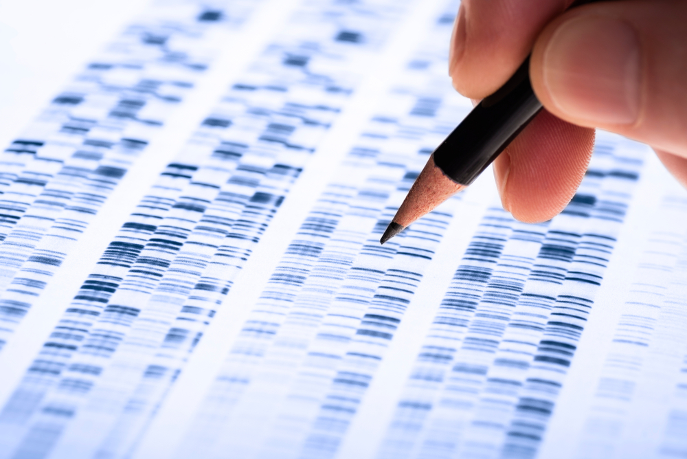 genetic testing, doctor looking at genetic mapping sheet