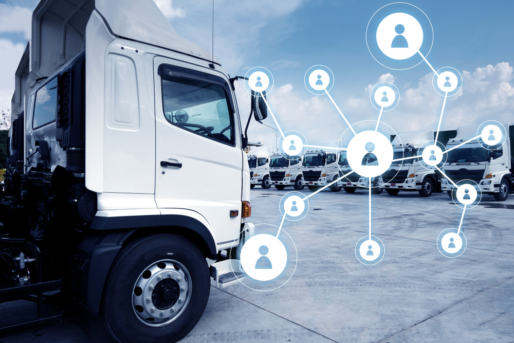 Truck fleet with social network of connection driver working together.