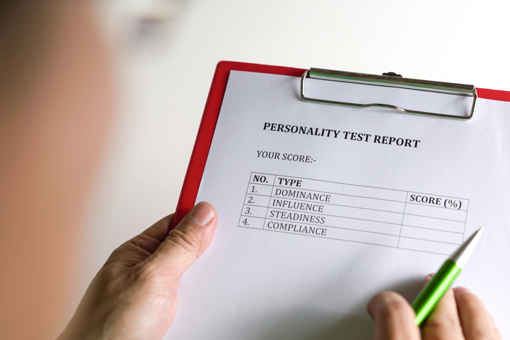 DISC personality test report on a clipboard
