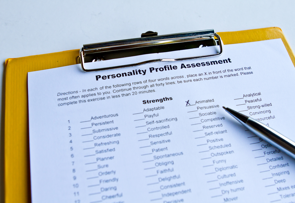 personality profile assessment test on clipboard