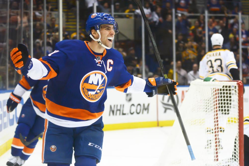 NHL Hockey: New York Islanders forward John Tavares celebrates after scoring a goal against the Boston Bruins at Nassau Veterans Memorial Coliseum