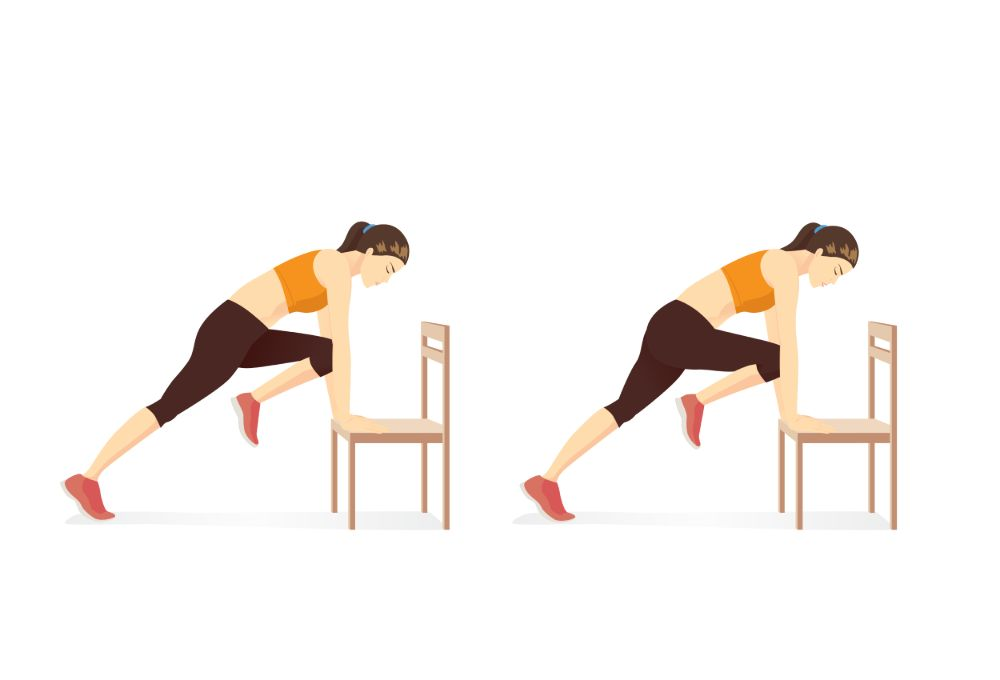 illustration of a woman doing inclined mountain climber exercise