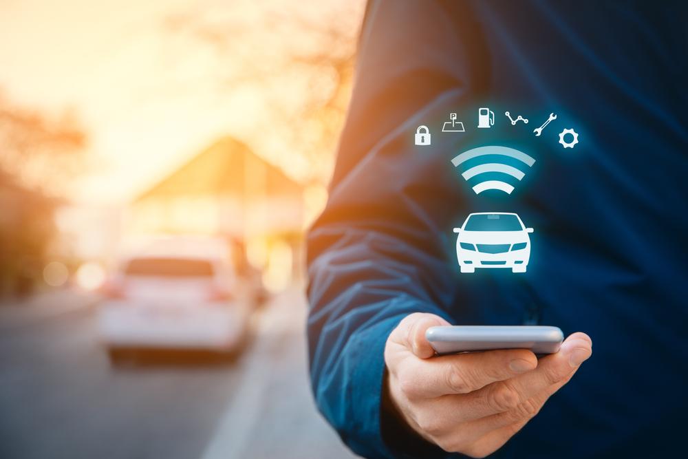 Intelligent car app on smart phone concept, intelligent vehicle and smart cars concept