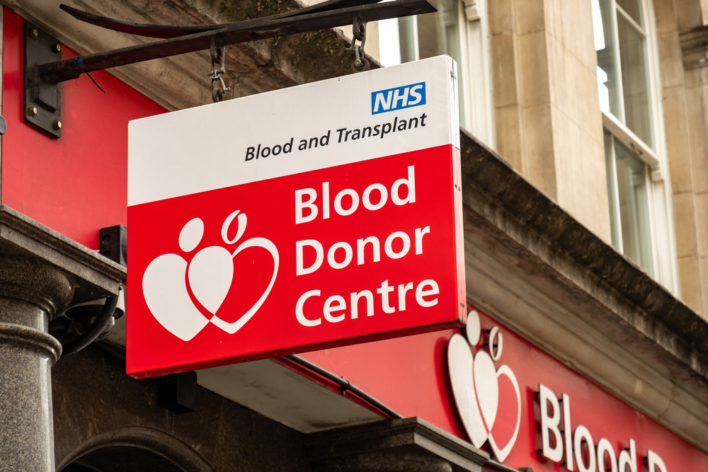 blood donor center sign