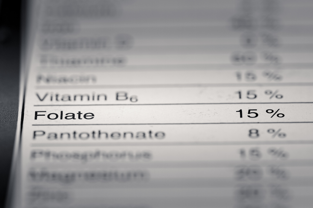 close up of folate on nutritional information list