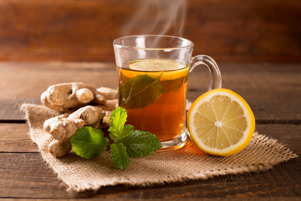mint tea with lemon and ginger
