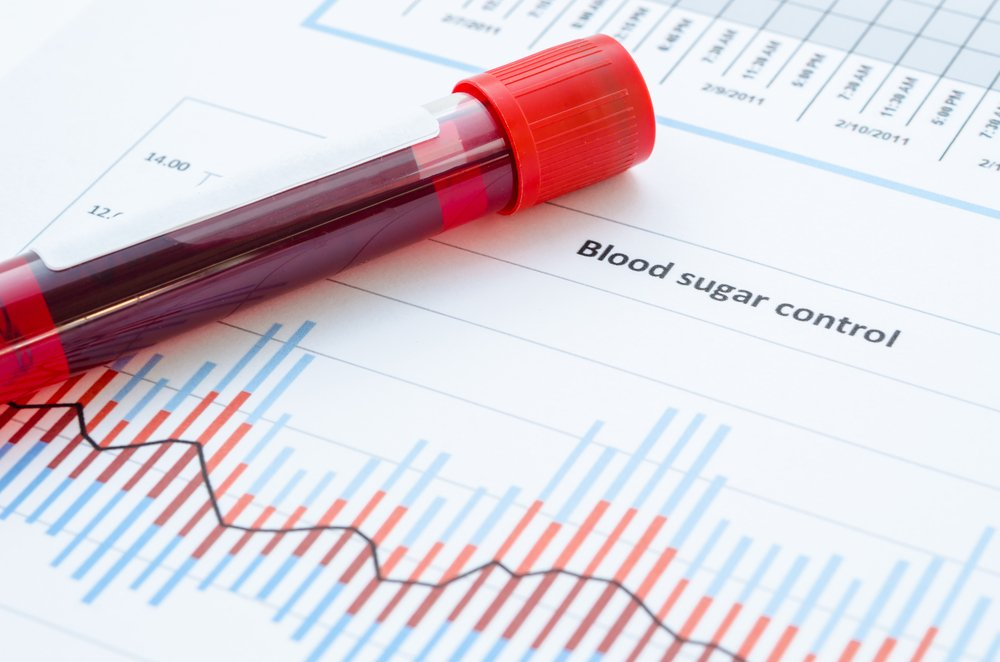 blood sugar control concept with vial of blood on chart