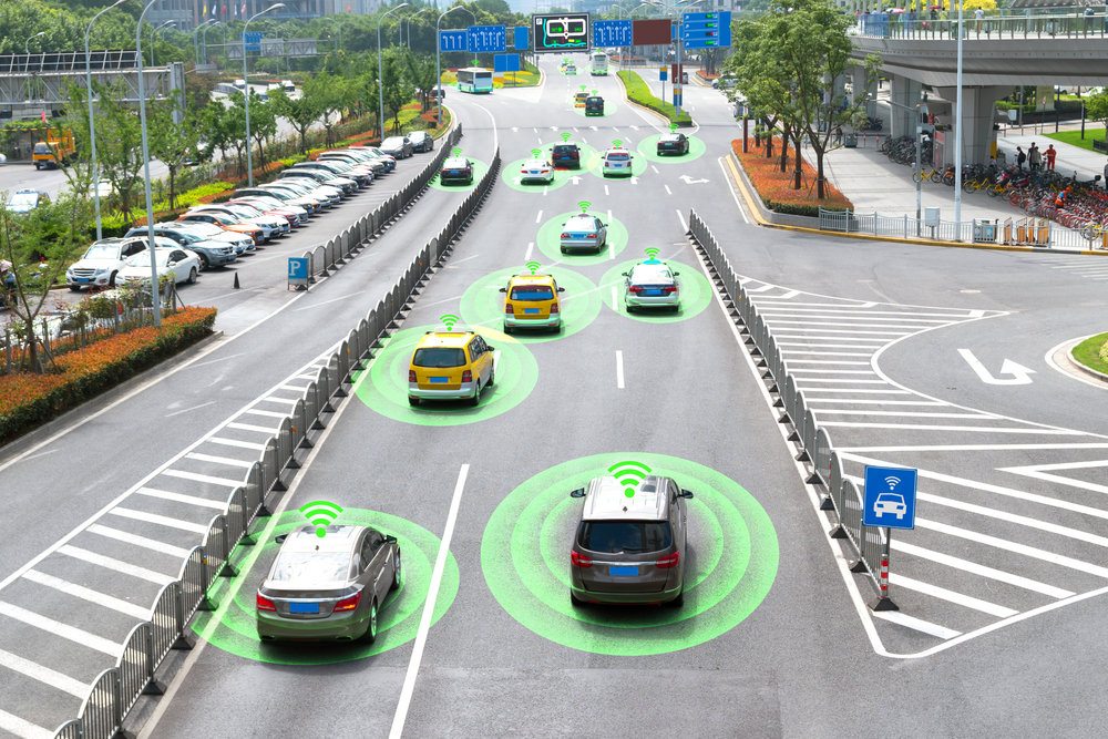 Smart car (HUD) and Autonomous self-driving mode vehicle on metro city road with graphic sensor signal