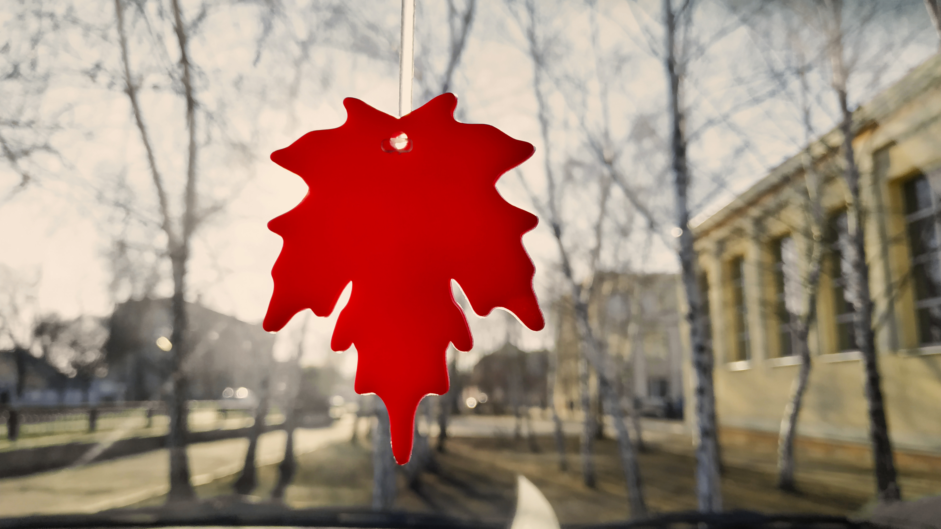 Car air freshener on a blurry background with birches