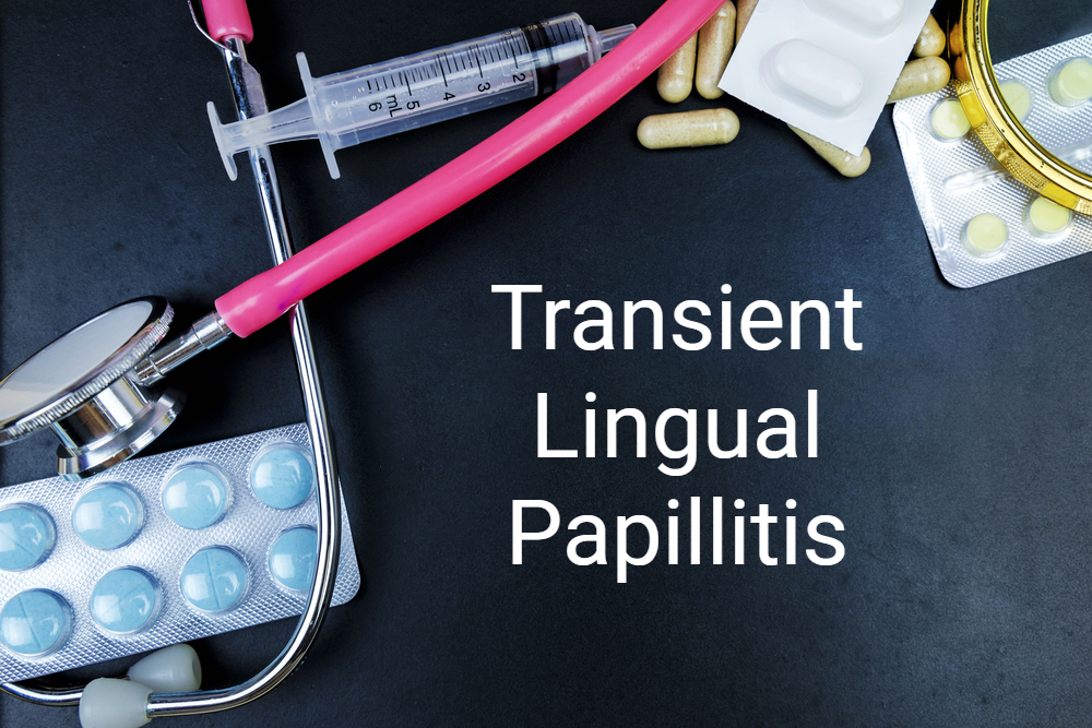 medical concept with stethoscope and pills transient lingual papillitis