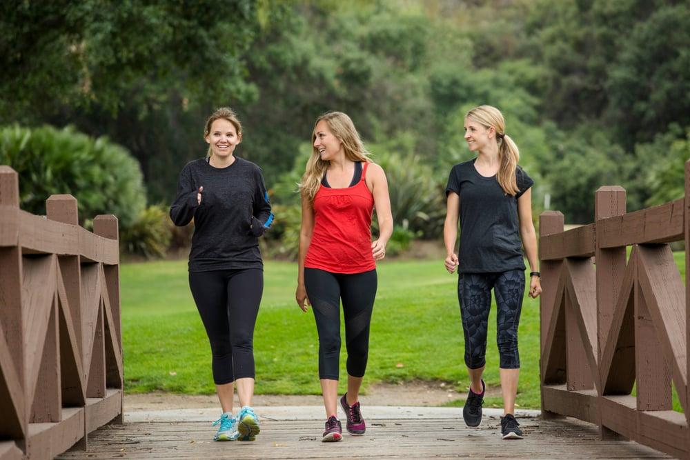three women going for a walk