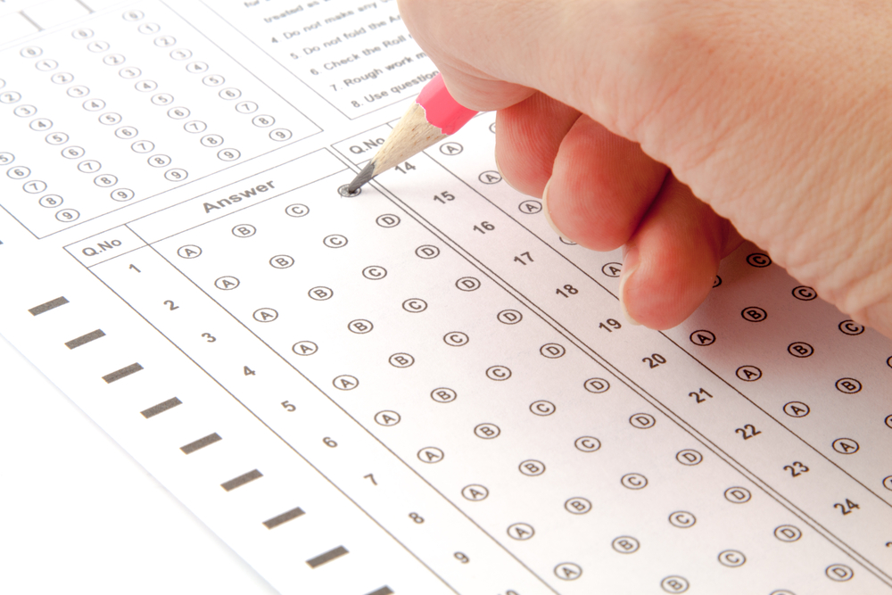 person taking a multiple choice test