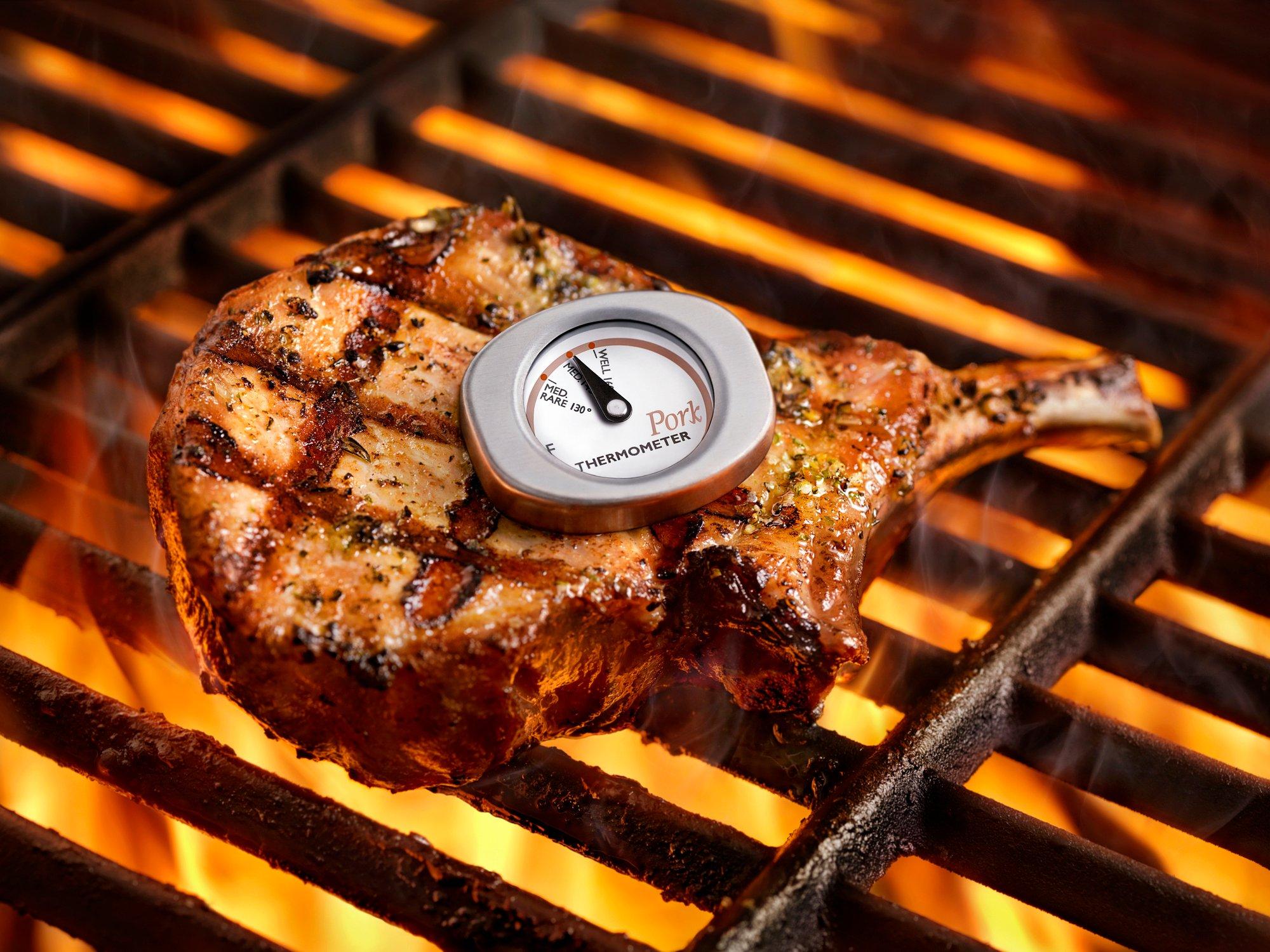 Checking Temp on BBQ Pork Chop