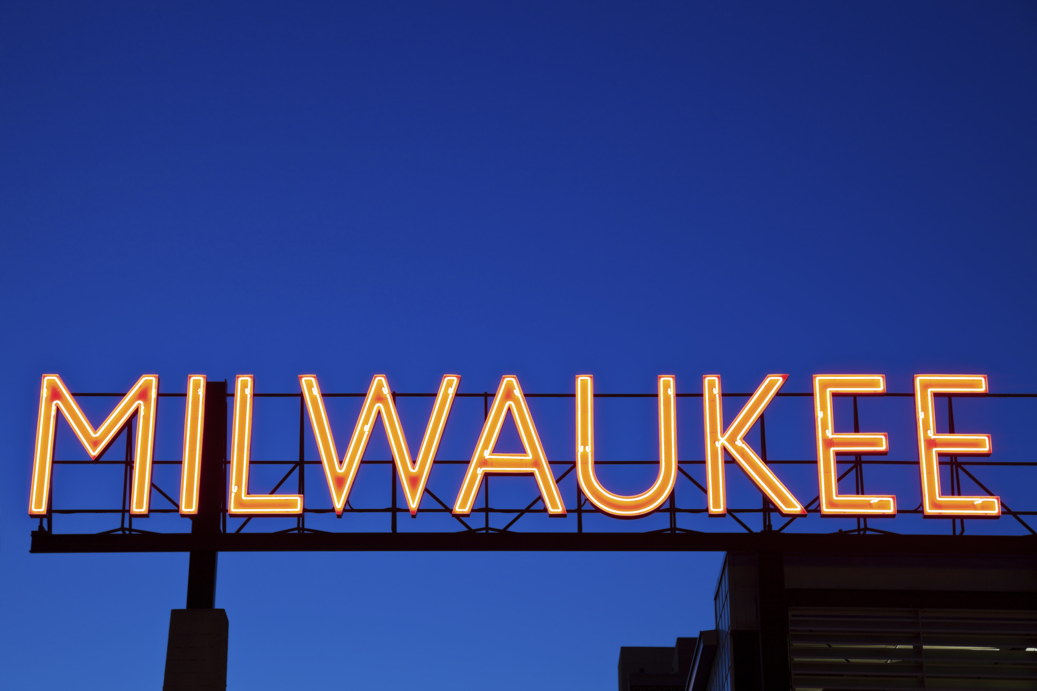 Red Milwaukee sign in downtown of the city.