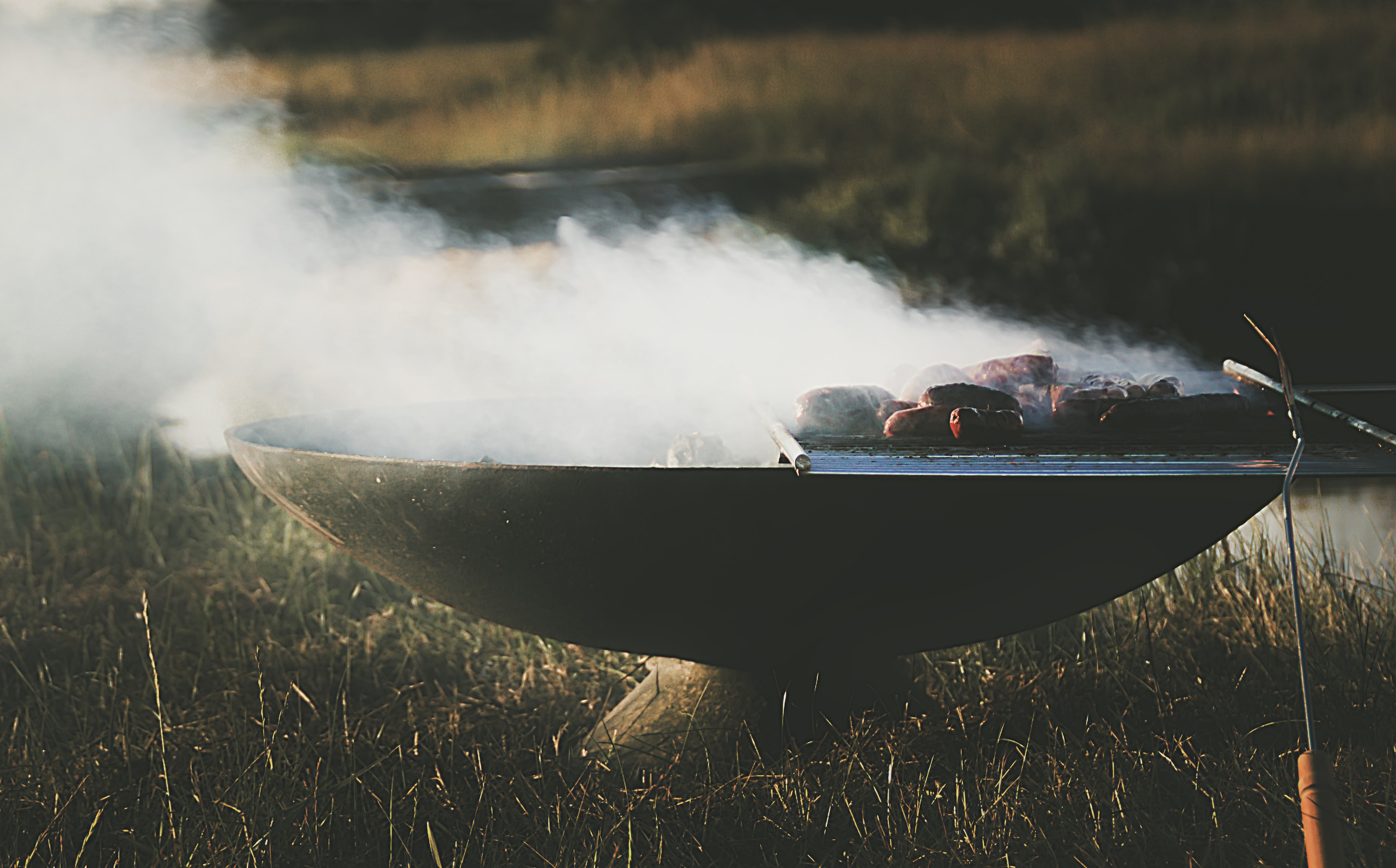 grilling sausages in a field