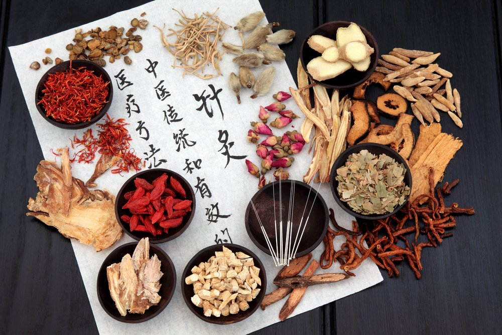 traditional chinese medicine concept with Chinese symbols and herbs