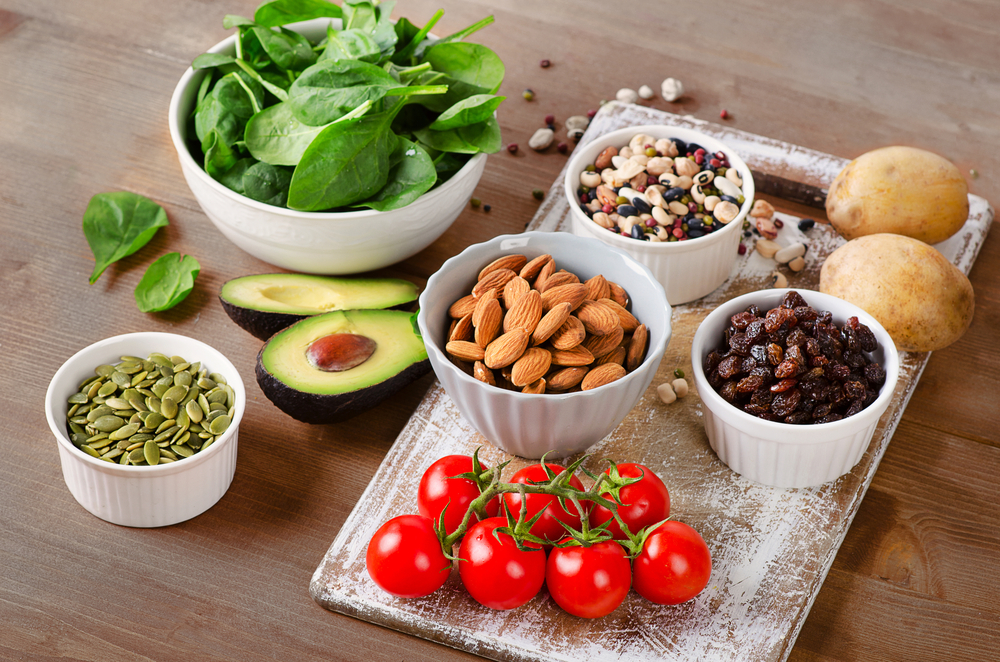 bowls of foods that contain potassium