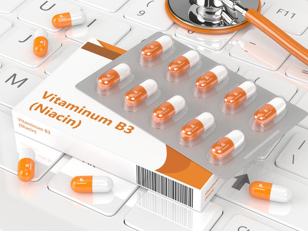 digital image of niacin or vitamin b3 pills