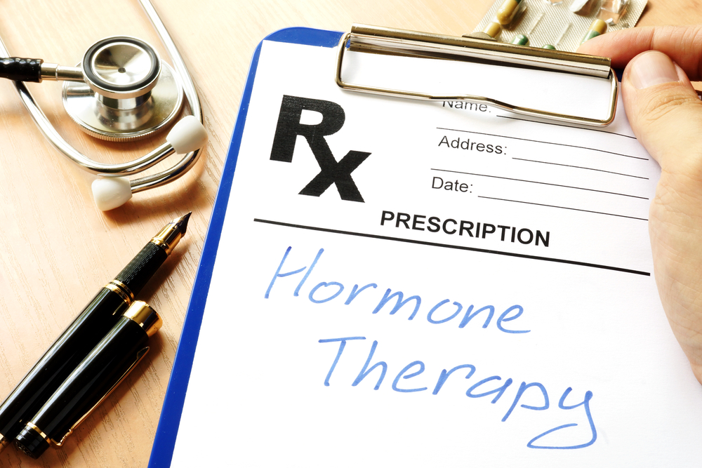hormone therapy written on a doctor's prescription pad