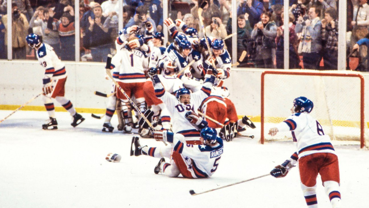 Lake Placid, NY - 1980: United States team vs Russian team, competing in the Men's ice hockey tournament, the 'Miracle on Ice', at the 1980 Winter Olympics / XIII Olympic Winter Games, Olympic Fieldhouse.
