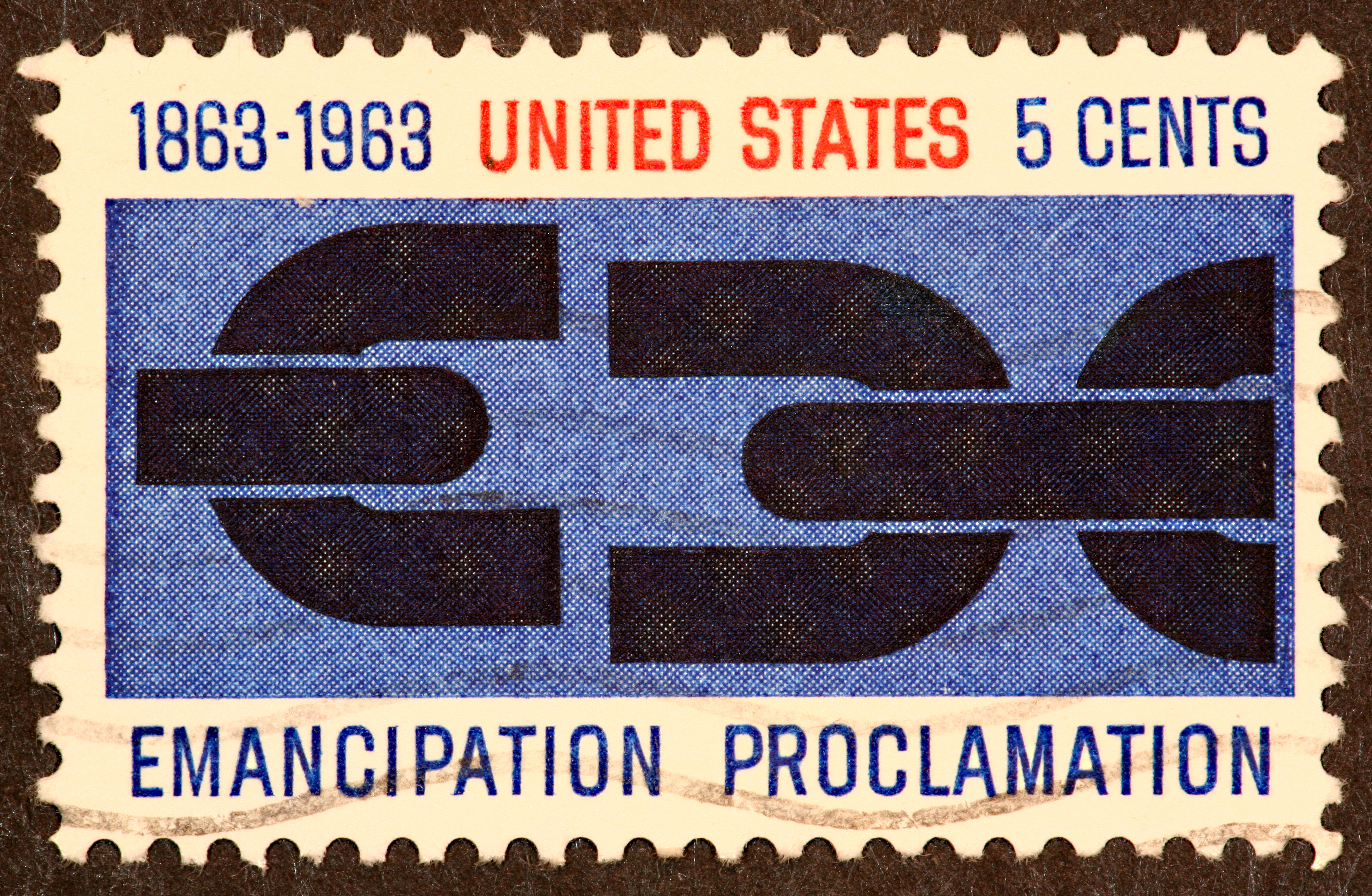 1963 postage stamp commemorating the Emanicaption Proclamation.1863