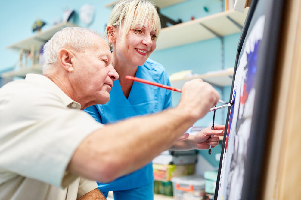 patient in an art therapy session