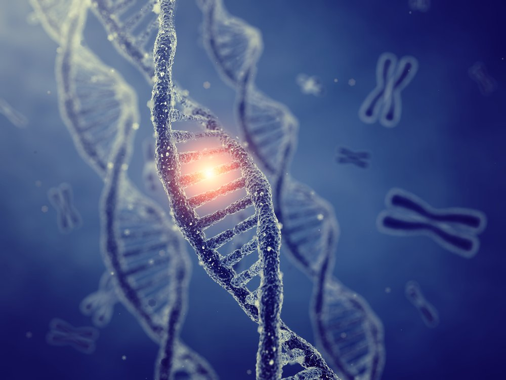 digital illustration of change in one gene on DNA strand