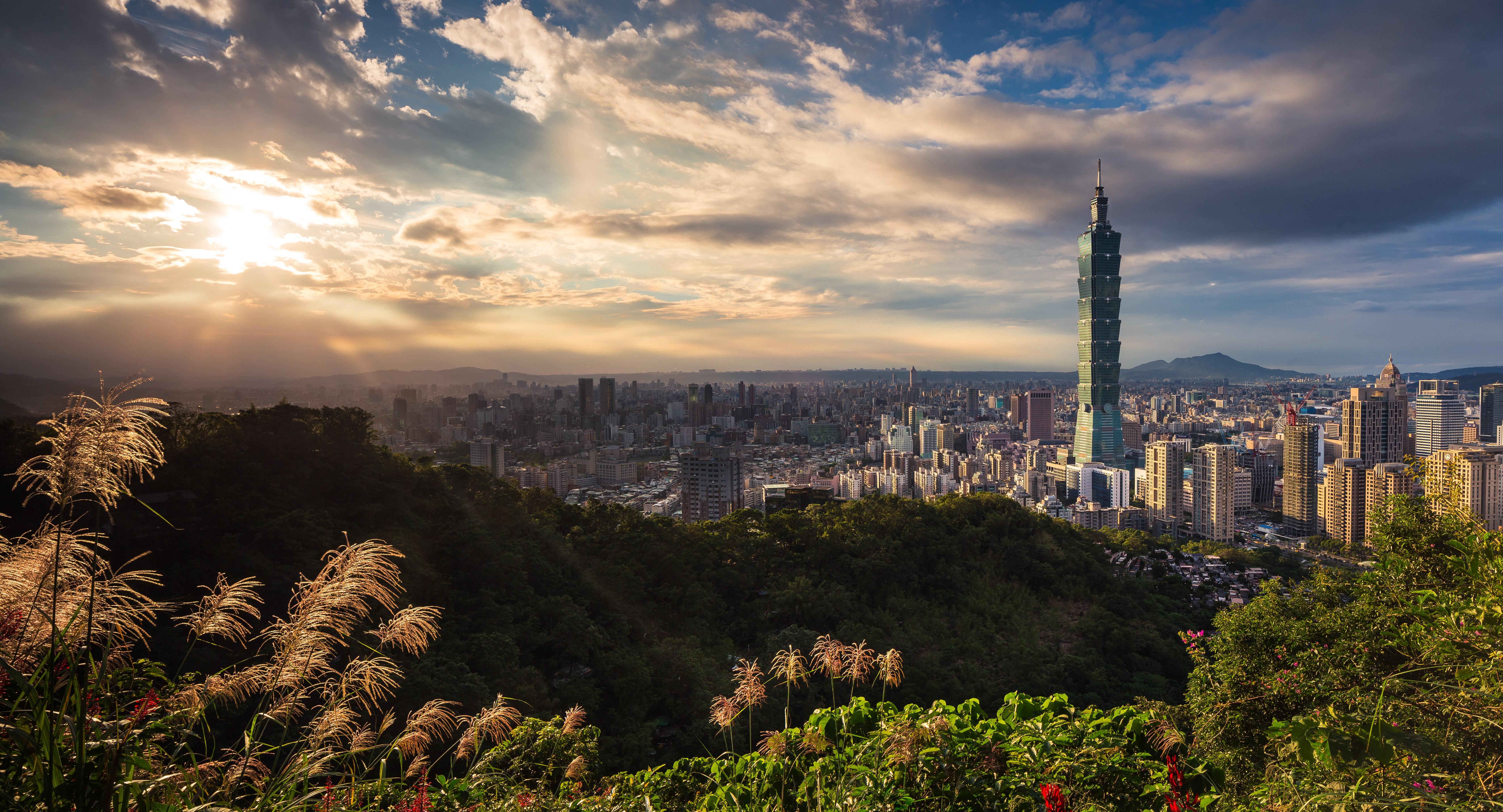 Sunset over Taipei City