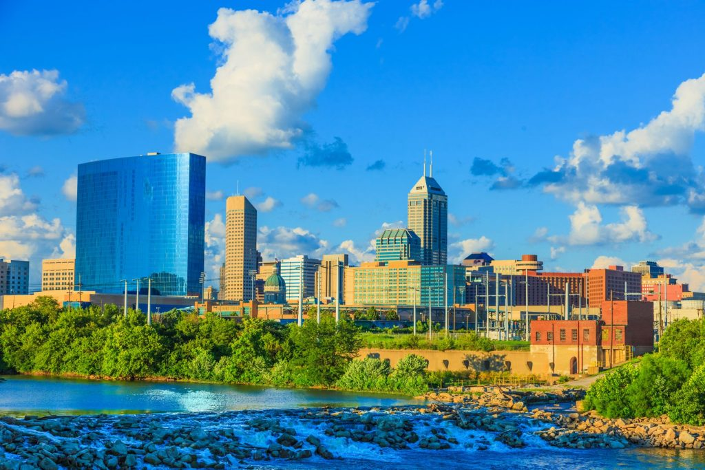 Indianapolis skyline with the White River, Indiana