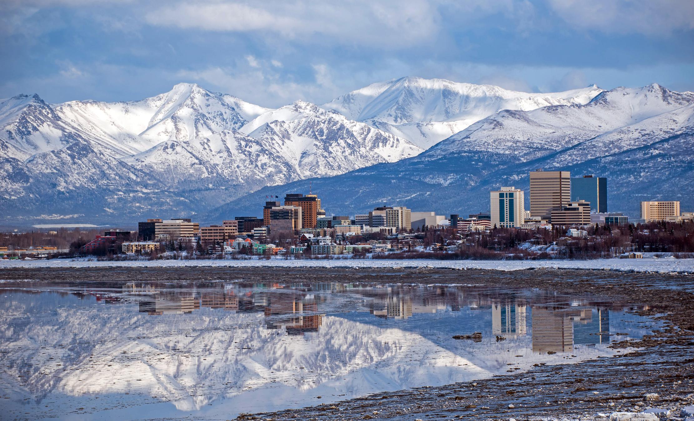 Anchorage, Alaska Skyline with a winter reflection