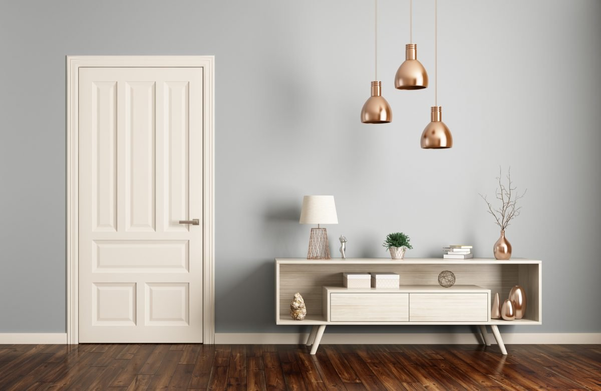 Your light fixtures should work with the space and any pieces in the entryway.