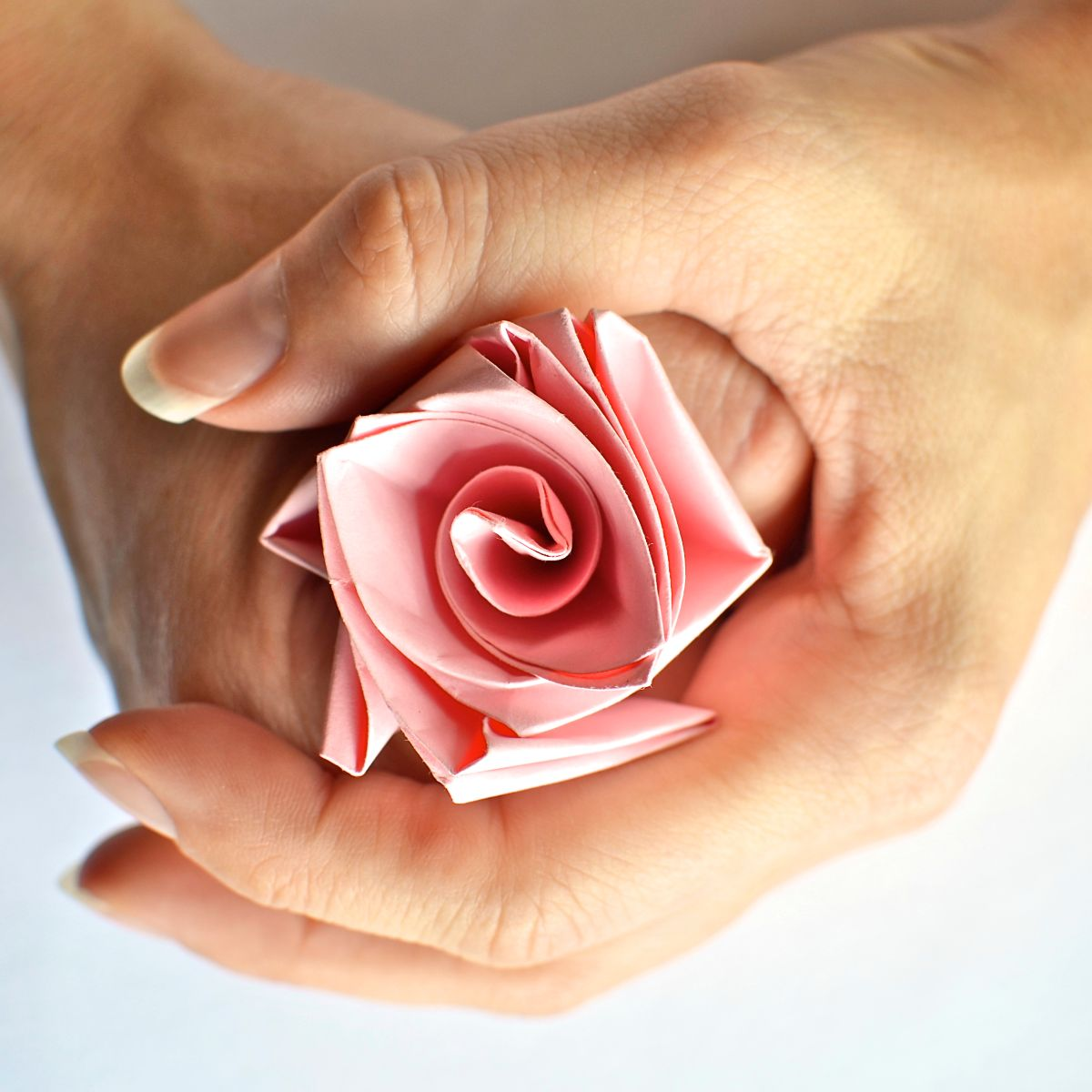 A woman's hands holding a pink paper rose