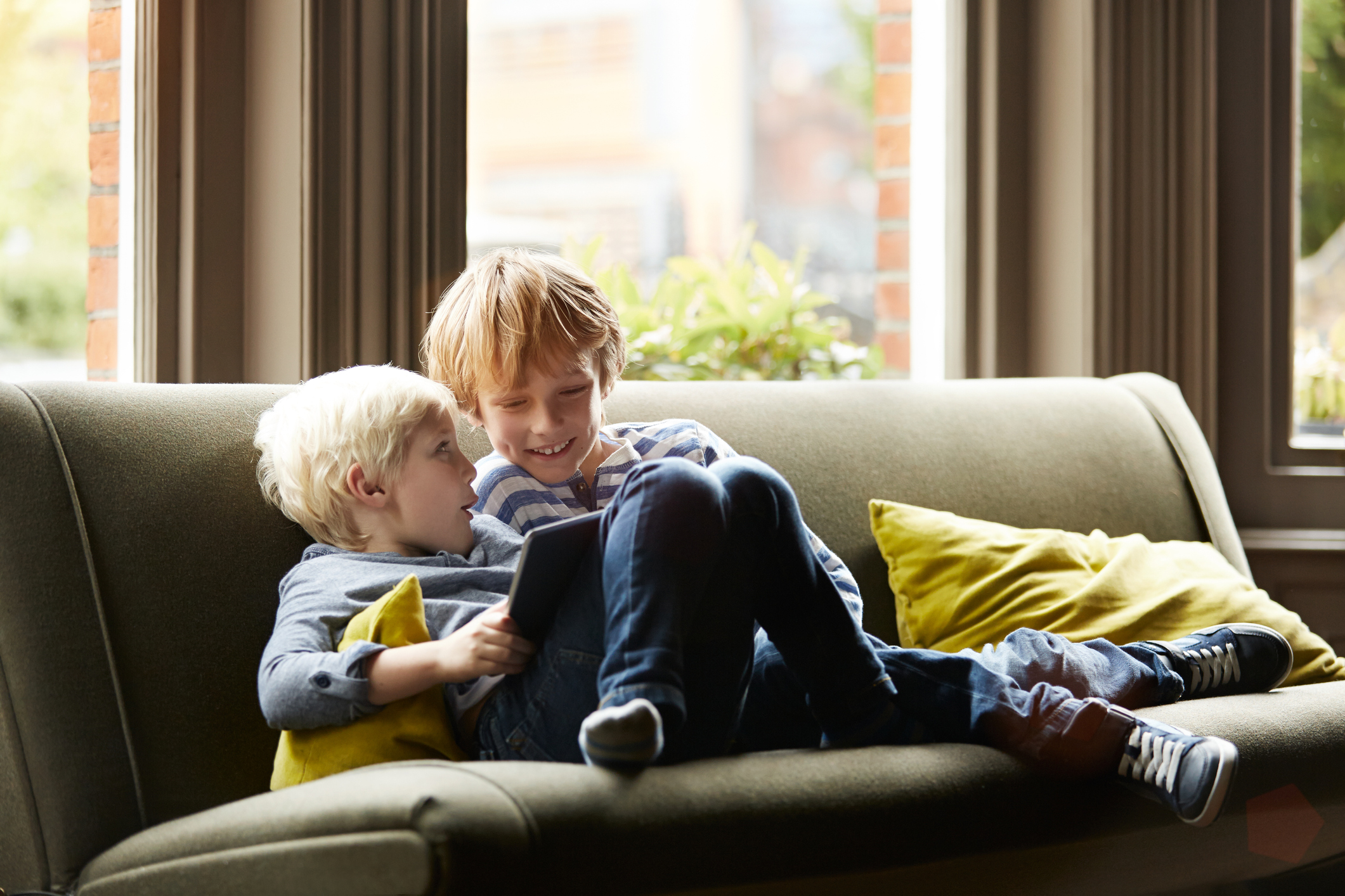 Shot of two little brothers sitting on their living room sofa using a digital tablet